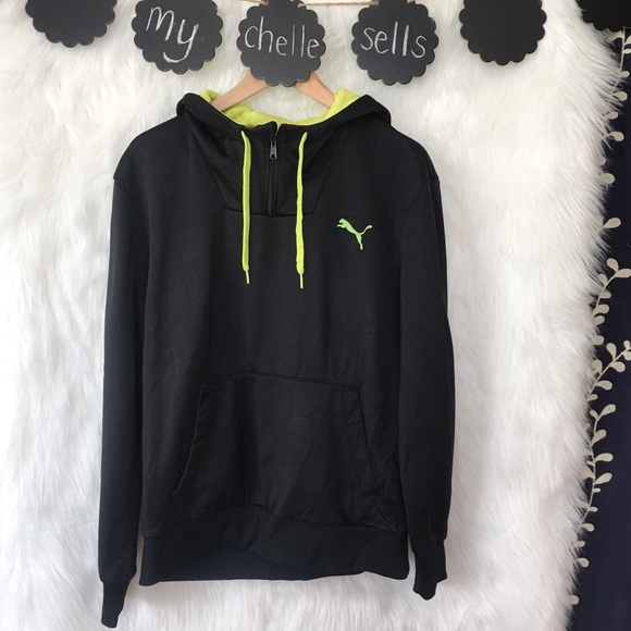 0659d16737a8a Puma Pullover Black and Neon Hoodie-B2